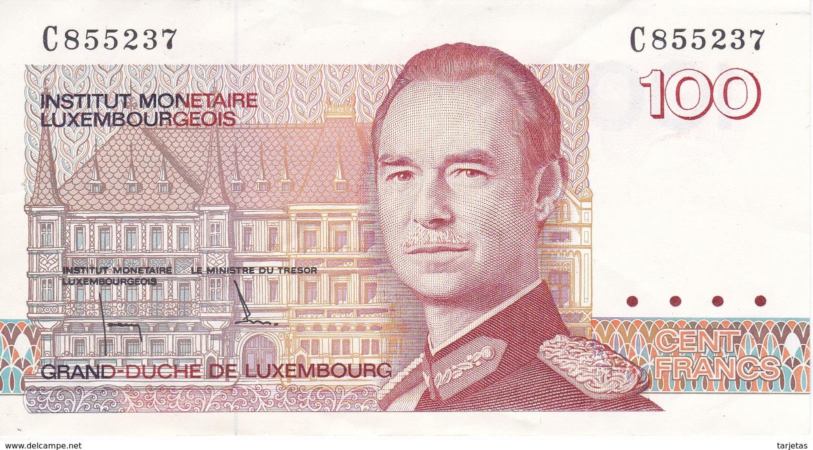 BILLETE DE LUXEMBURGO DE 100 FRANCS DEL  AÑO 1980 SERIE C (BANKNOTE) - Luxemburgo