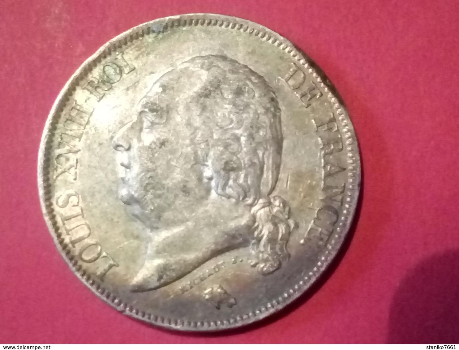 MONNAIE  PIÈCE DE 5 Francs MICHAUT F. LOUIS XVIII 1822 A  ARGENT Non Nettoyé - J. 5 Francs