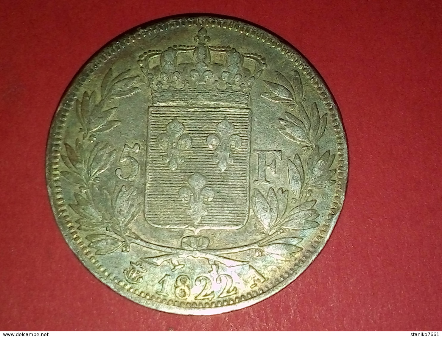 MONNAIE  PIÈCE DE 5 Francs MICHAUT F. LOUIS XVIII 1822 A  ARGENT Non Nettoyé - Francia