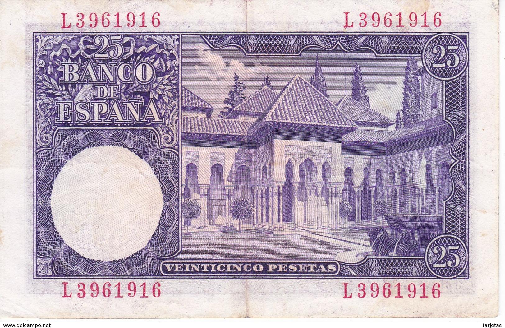 BILLETE DE ESPAÑA DE 25 PTAS DEL AÑO 1954 SERIE L EN CALIDAD MBC (VF)(BANKNOTE) - [ 3] 1936-1975 : Regime Di Franco
