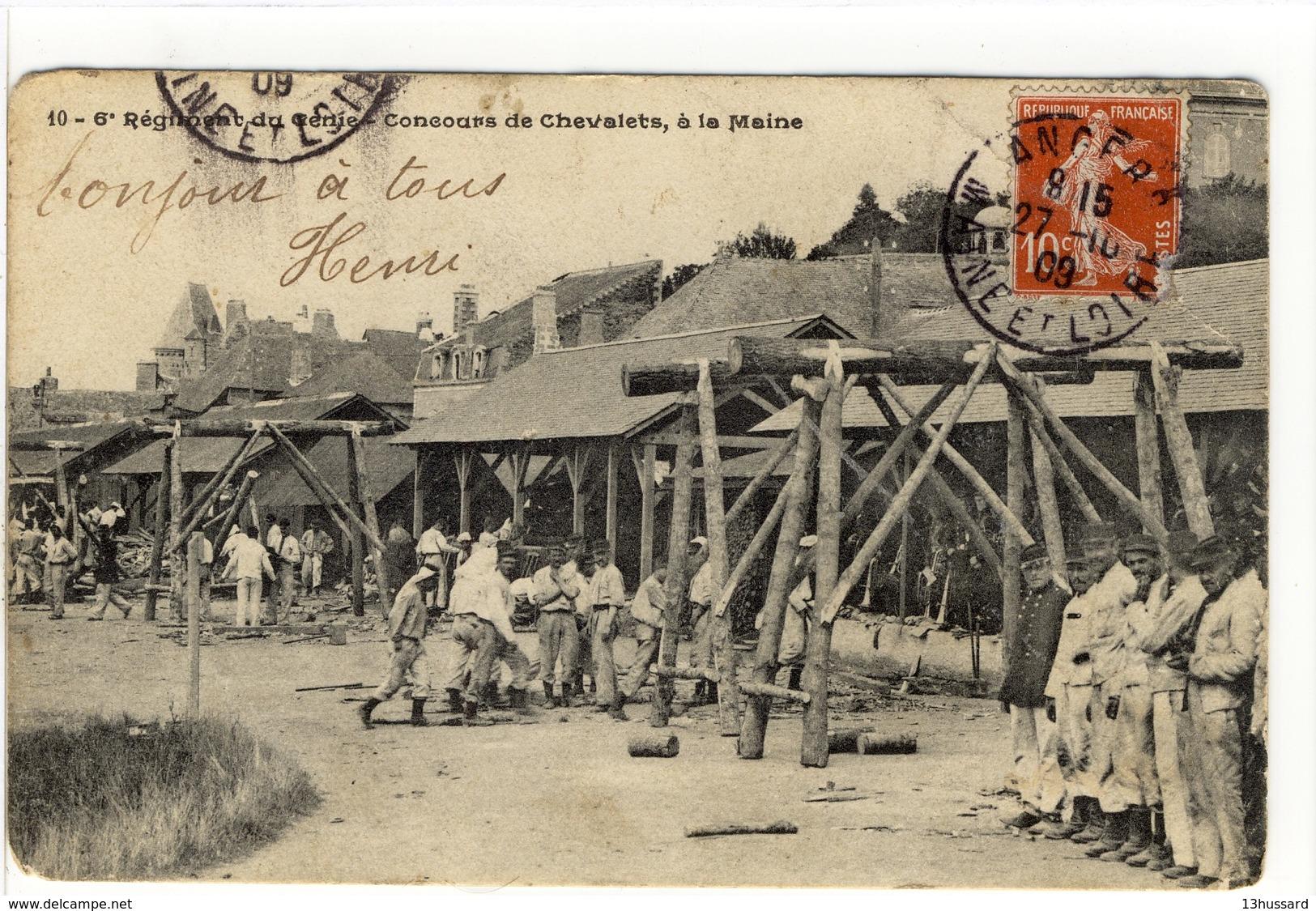 Carte Postale Ancienne 6ème Régiment Du Génie (Angers) - Concours De Chevalets, à La Maine - Militaires - Angers