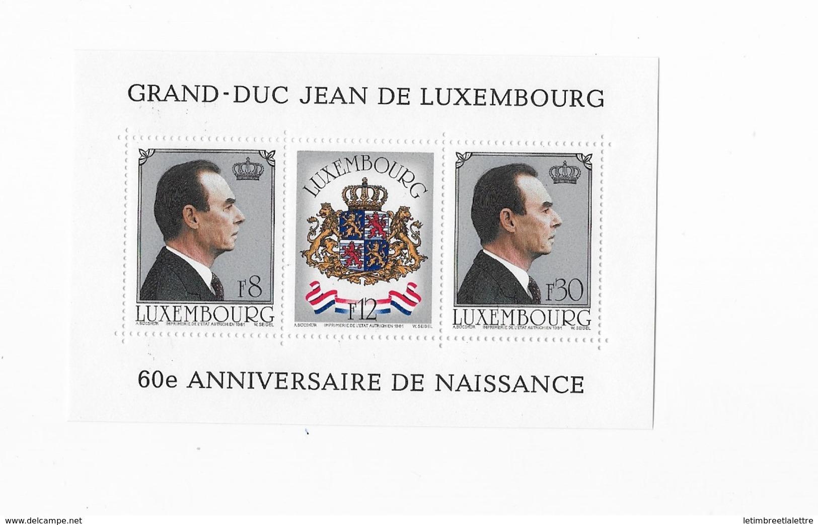 Bloc Feuillet  Luxembourg 60° Anniversaire De Naissance - Blocks & Sheetlets & Panes