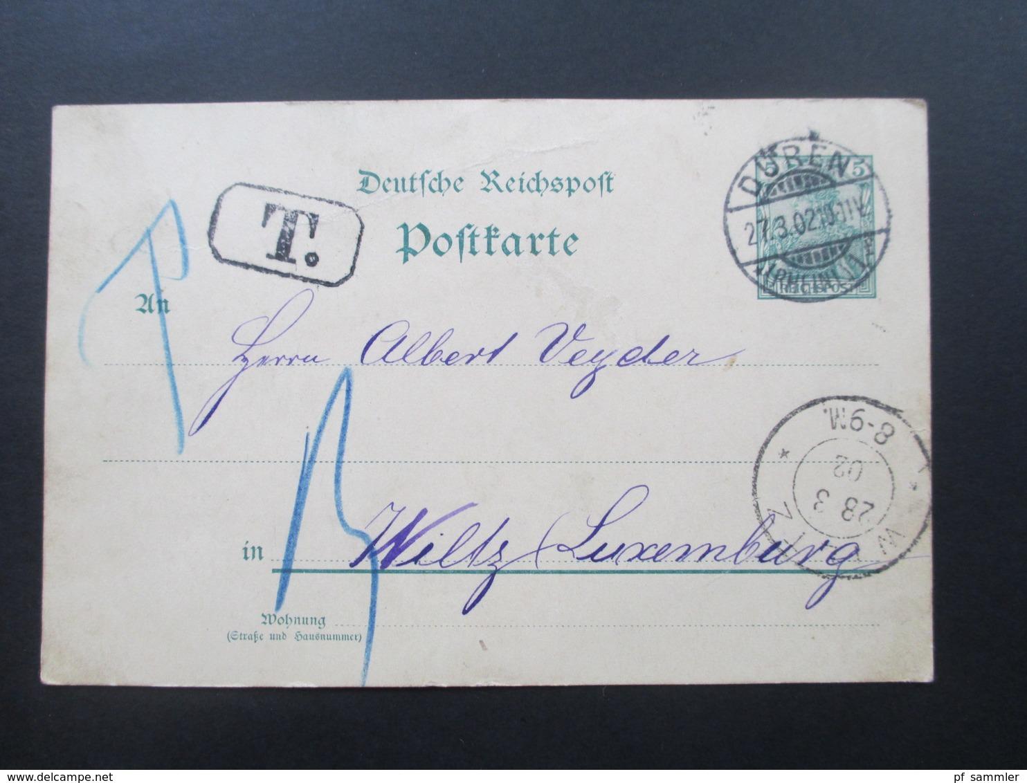 DR 1902 GA Reichspost Düren - Wiltz Luxemburg Mit T Stempel / Nachporto.Luxemburg Incomming Mail - Allemagne