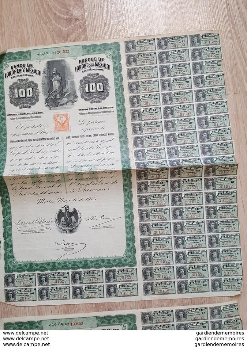 Accion 4 X  Banco De Londres Y Mexico, 1905 - Banque De Londres Et De Mexico - Timbre Entier Postal - Banque & Assurance