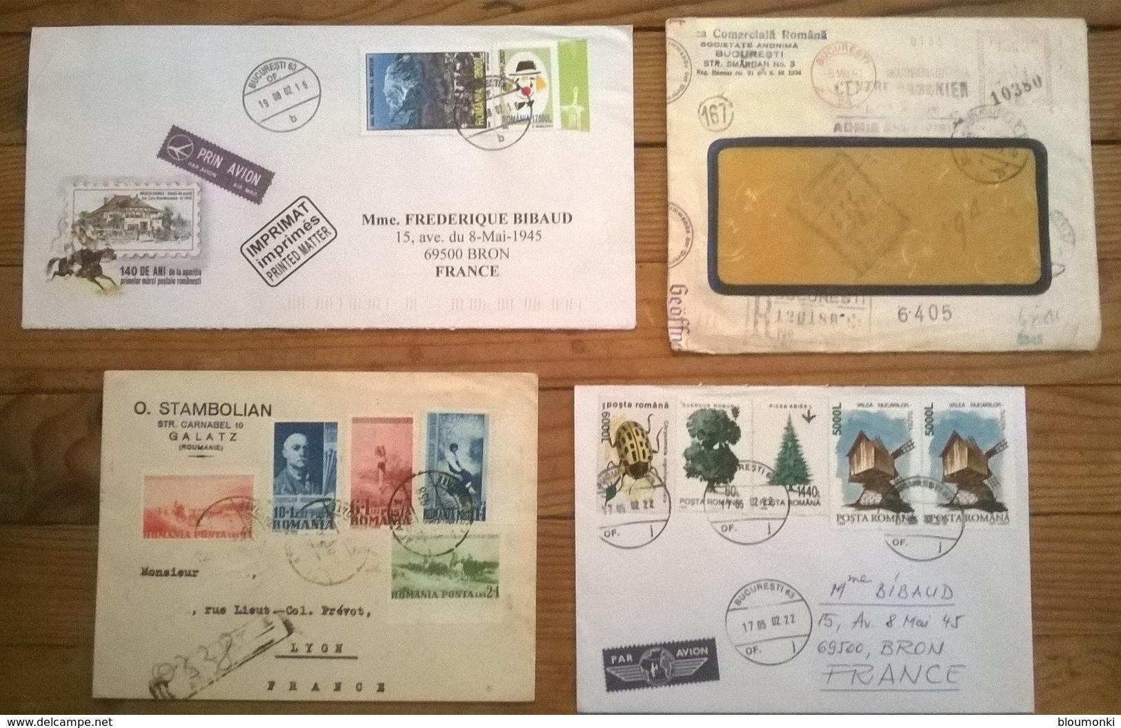 Lot De 4 Enveloppes Timbrées POSTA ROMANA ROMANIA - Roumanie