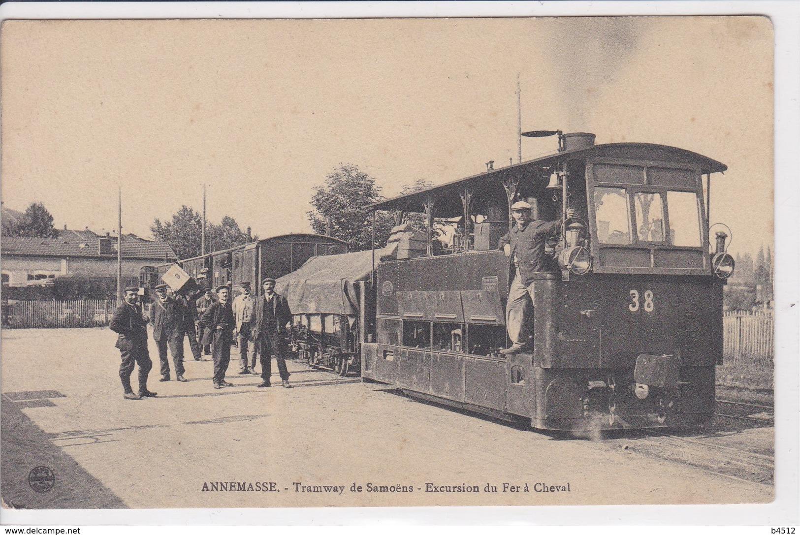 74 ANNEMASSE Tramway De Samoens ,locomotive Gros Plan Avec Chauffeur - Annemasse