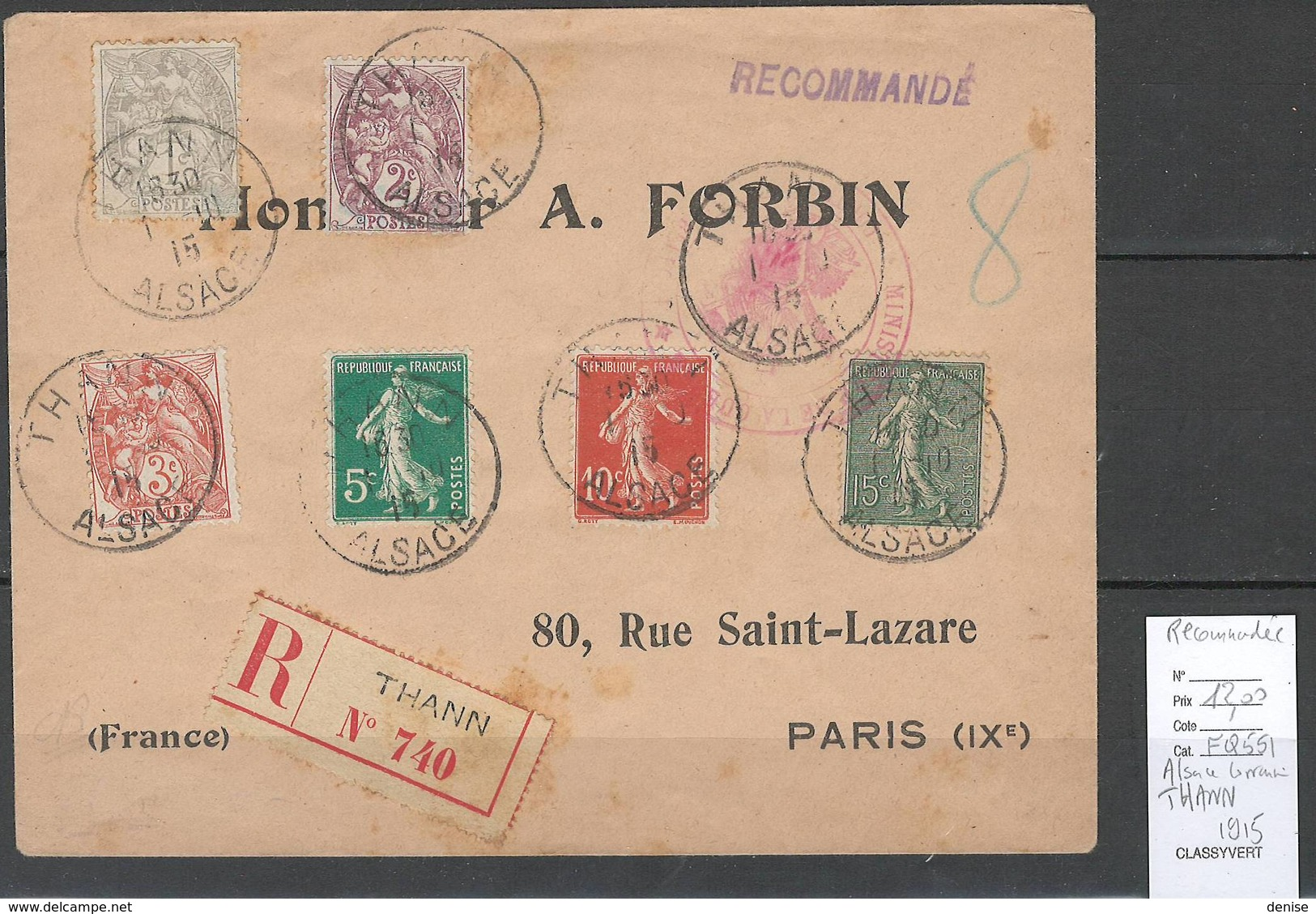 France- Lettre Recommandée Alsace Lorraine - THANN - 1915 - Bel Affranchissement - Postmark Collection (Covers)