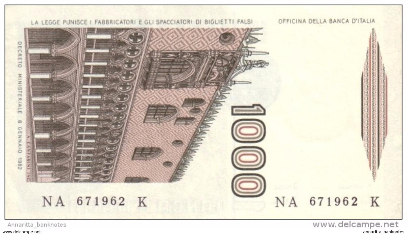 ITALY 1000 LIRE 1982 P-109a UNC SIGN. CIAMPI & STEVANI [IT109a] - 1000 Lire