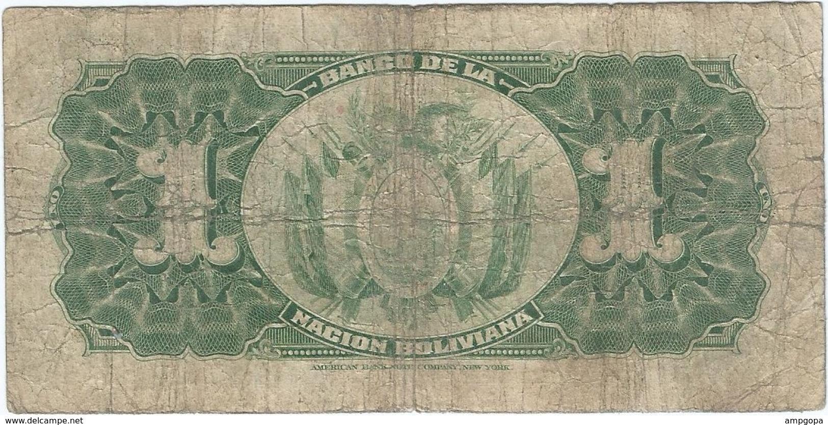Bolivia 1 Boliviano 11-05-1911 (1929) Pick 112.3 Ref 1686 - Bolivia
