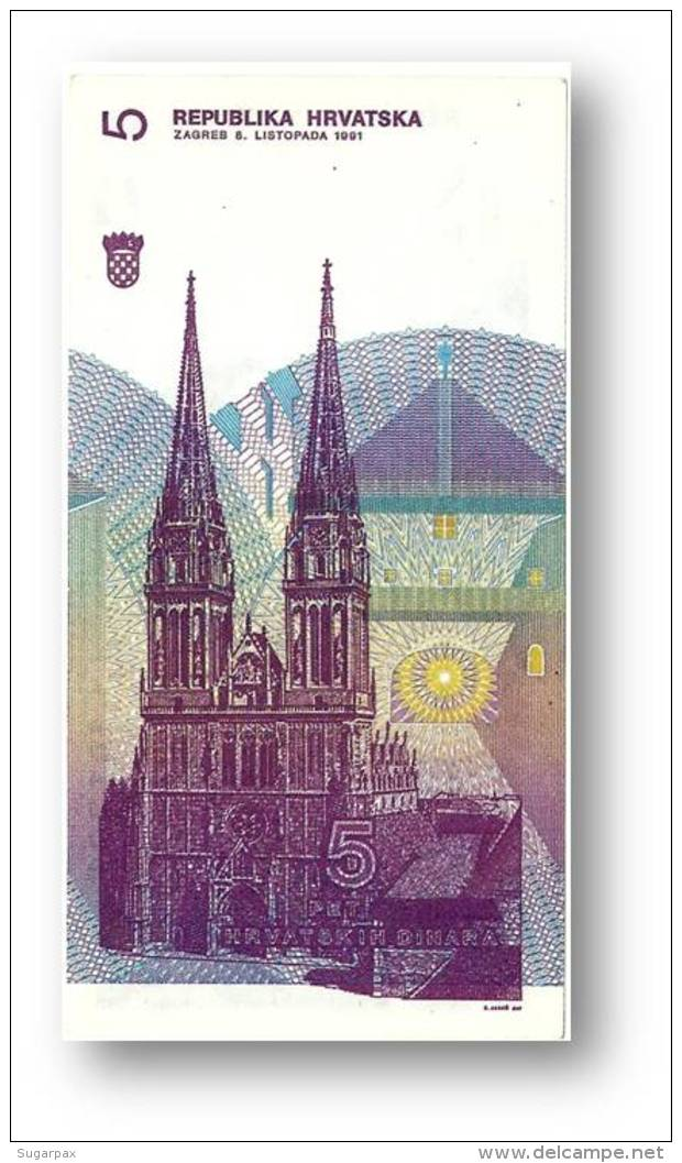 CROATIA - 5 Dinara - 08/10/1991 - P 17 - Unc. - Série C9 - Ruder Boskovic / Zagreb Cathedral - Croácia Croatie Kroatien - Croatie