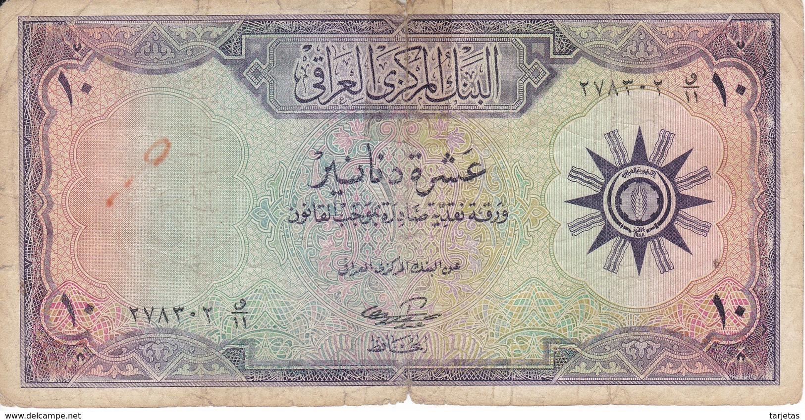 BILLETE DE IRAQ DE 10 DINARS DEL AÑO 1959 (BANKNOTE) - Iraq