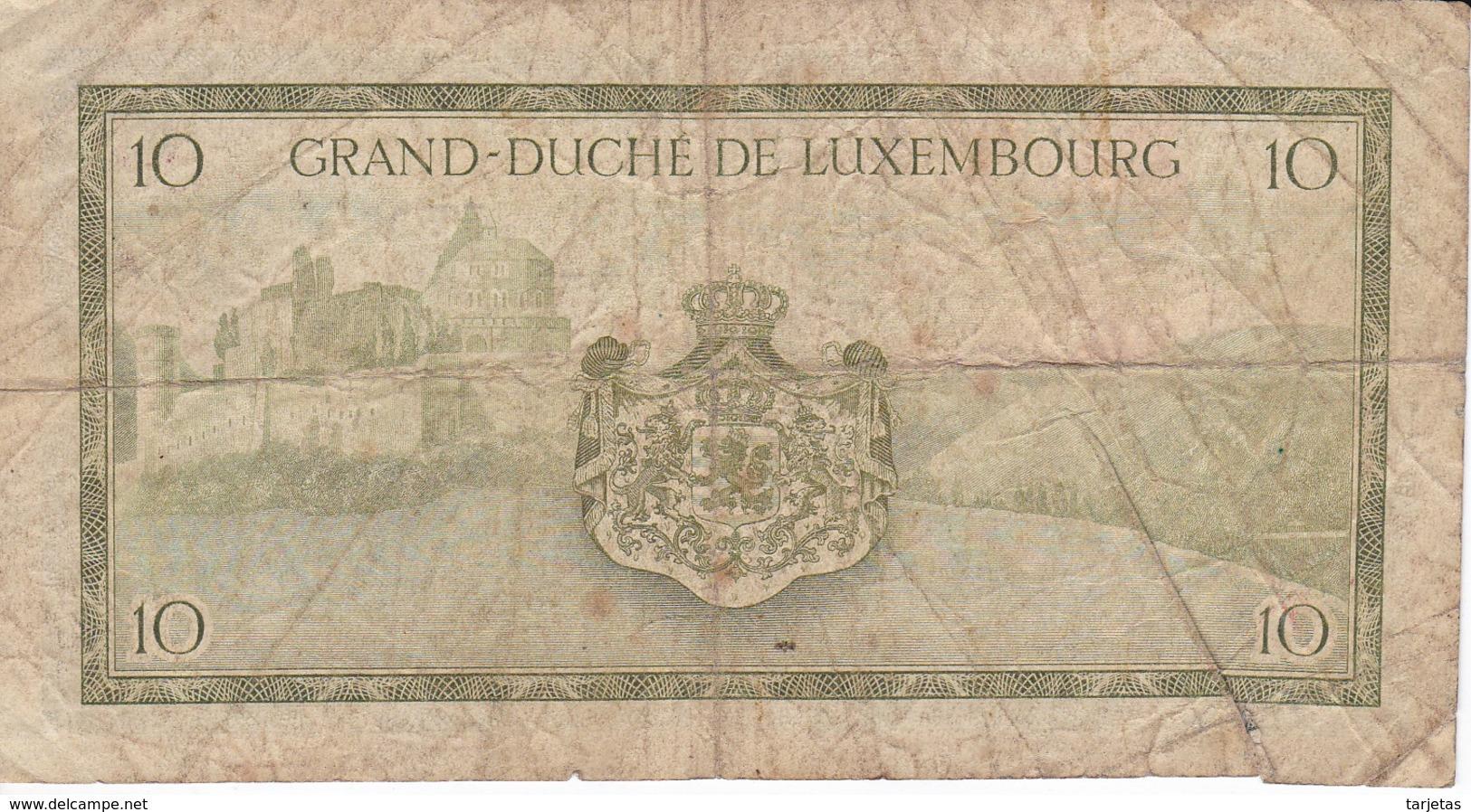 BILLETE DE LUXEMBURGO DE 10 FRANCS DEL AÑO 1954 (BANKNOTE) - Luxemburgo