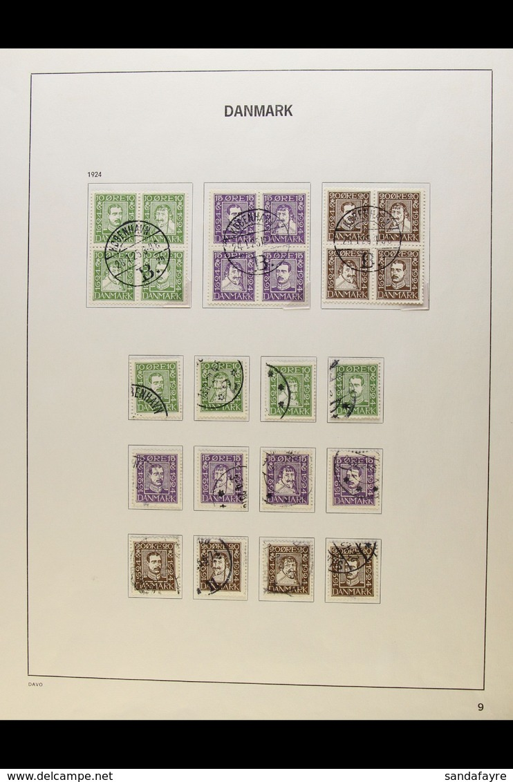 1918-46 FINE USED COLLECTION Presented On Printed Pages. Includes 1918-20 Christian Complete Definitive Set, 1920-21 Sch - Denmark