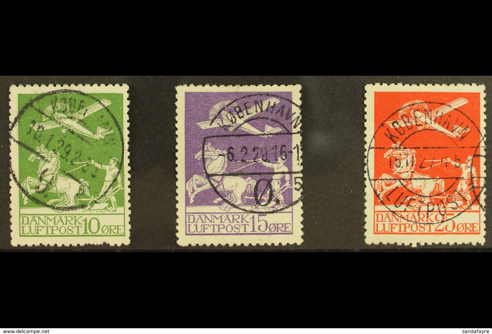 1925-26 10 Ore, 15 Ore, And 25 Ore Air Set, Michel 143/145 Or SG 224/226, Fine Used With Neat Cds Cancels. (3 Stamps)  F - Denmark