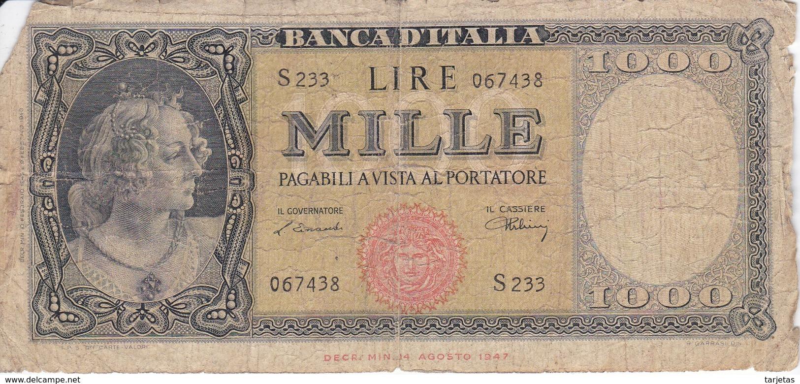 BILLETE DE ITALIA DE 1000 LIRAS DEL 10 DE FEBRERO DE 1948  (BANKNOTE) (RARO) - 1000 Lire
