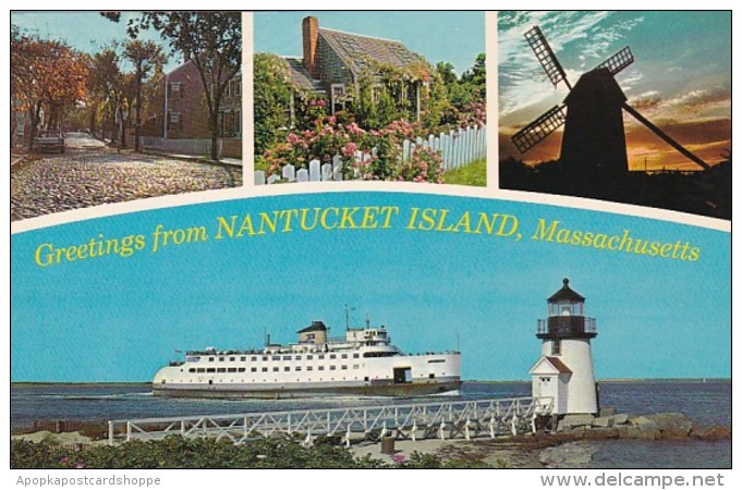 Massachusetts Greetings From Nantucket Island Showing Steamer Nantucket Old Mill At Sunset Brant Point Lighthouse &  - Nantucket