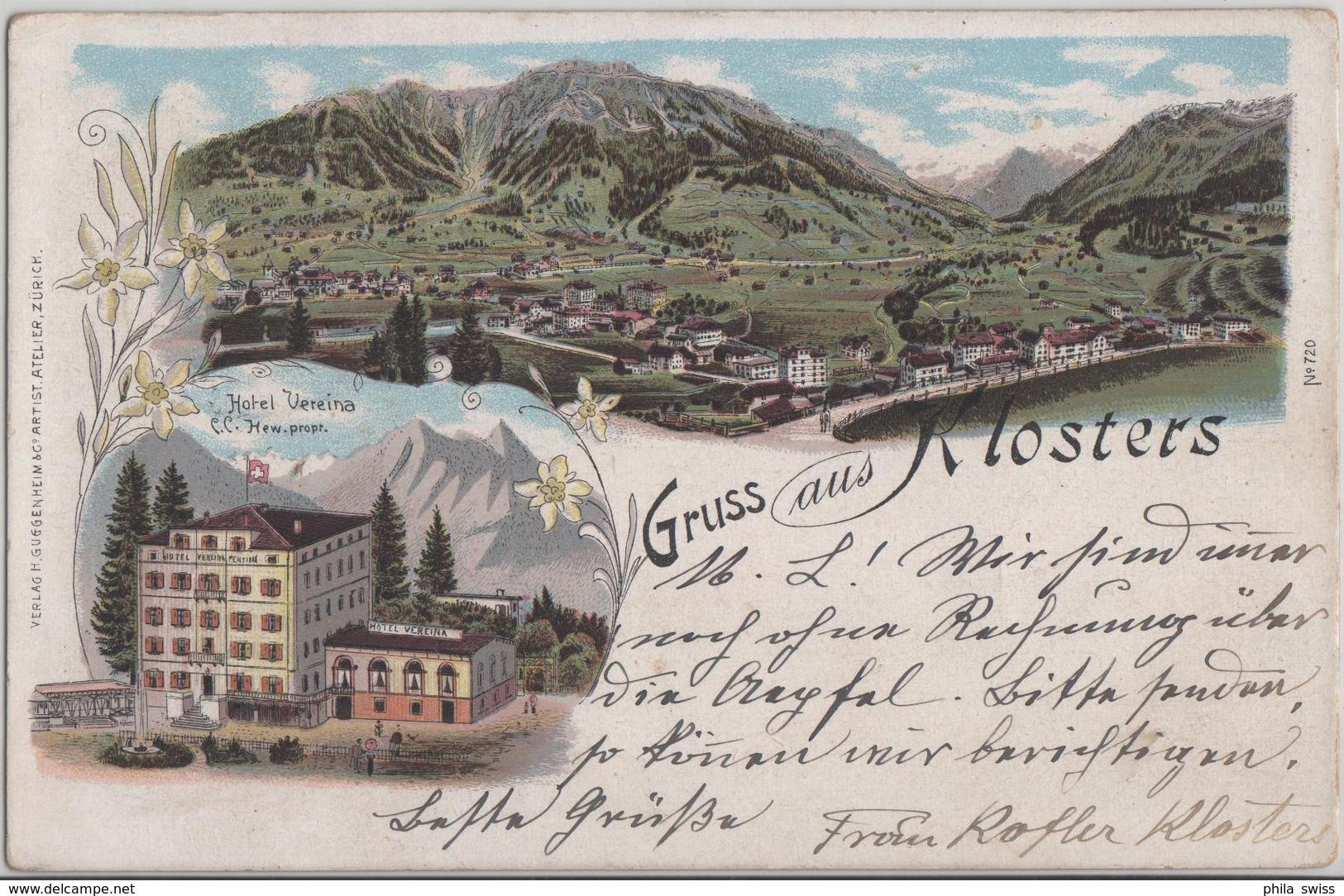Gruss Aus Klosters - Hotel Vereina - Generalansicht - Litho Guggenheim No. 720 - GR Grisons