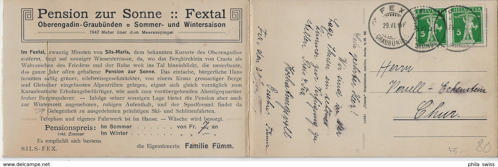 Pension Zur Sonne, Fextal, Engadin - Doppelkarte - GR Grisons