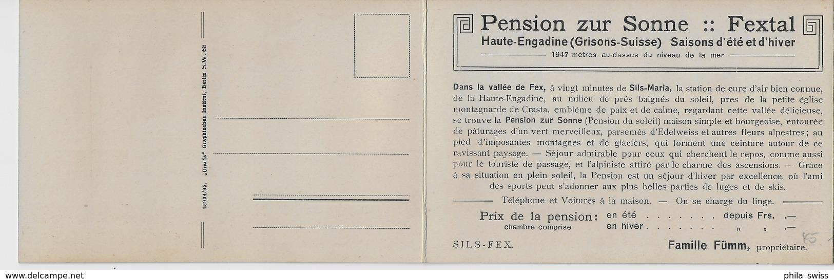 Pension Zur Sonne, Fextal, Engadin - Kirchlein - Doppelkarte - GR Grisons