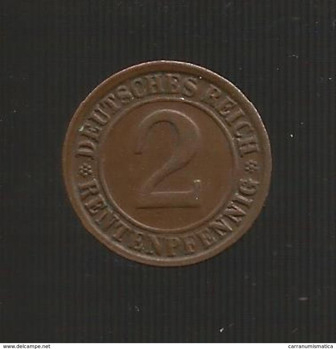 DEUTSCHLAND -  Weimarer Republik - 2 RENTENPFENNIG ( 1923 D ) - [ 3] 1918-1933 : Repubblica Di Weimar