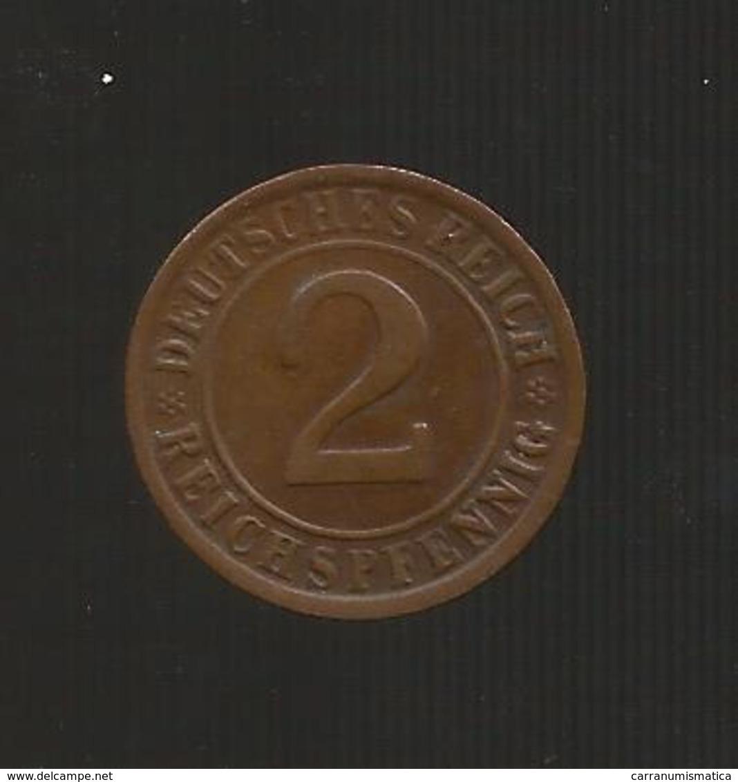 DEUTSCHLAND -  Weimarer Republik - 2 RENTENPFENNIG ( 1924 G ) - [ 3] 1918-1933 : Repubblica Di Weimar