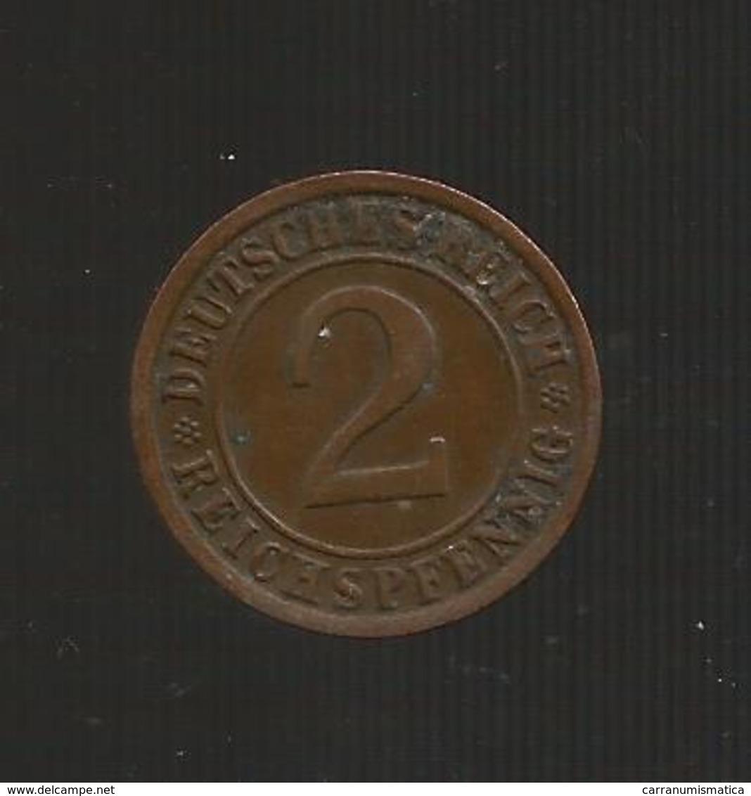 DEUTSCHLAND -  Weimarer Republik - 2 RENTENPFENNIG ( 1924 J ) - [ 3] 1918-1933 : Repubblica Di Weimar