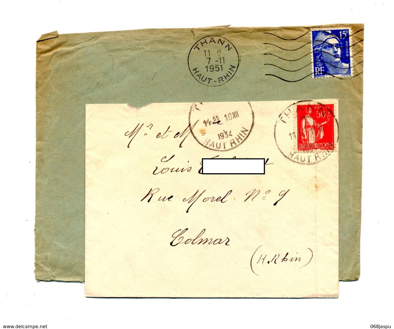 Lettre Cachet Et Flamme Muette Thann - Postmark Collection (Covers)