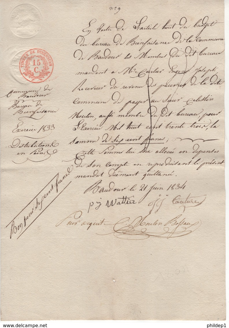 Jen. Bureau De Bienfaisance. N°9. Baudour Le 21/06/1834. - Belgique