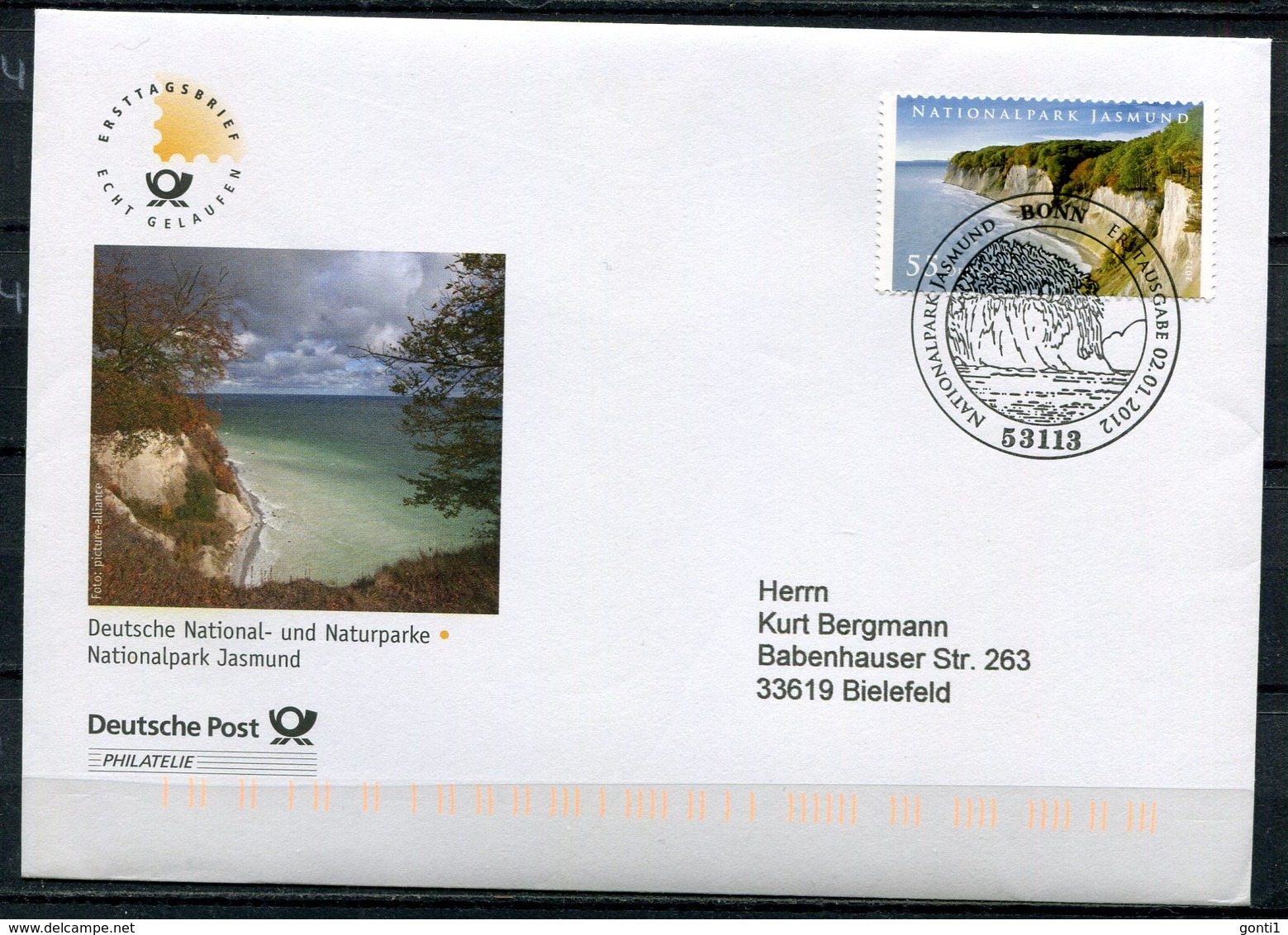 "First Day Cover Germany 2012 Mi.Nr.2908 Ersttagsbrief""Deutschland-Nationalpark,Jasmund"" 1 FDC - FDC: Covers"