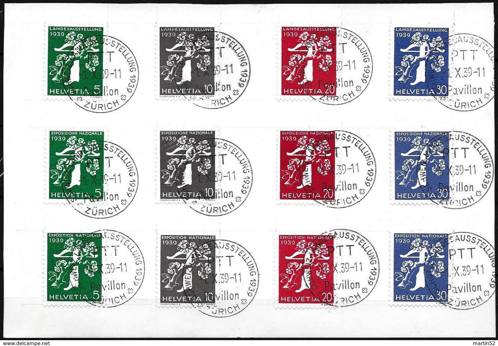 """Schweiz Suisse EXPO 1939: Zu 228-239 Mi 344-355 Yv 329-340 O """"Pavillon"""" 4.VII.39 ZÜRICH (Zu CHF 80.00 Für O) - Schweiz"""