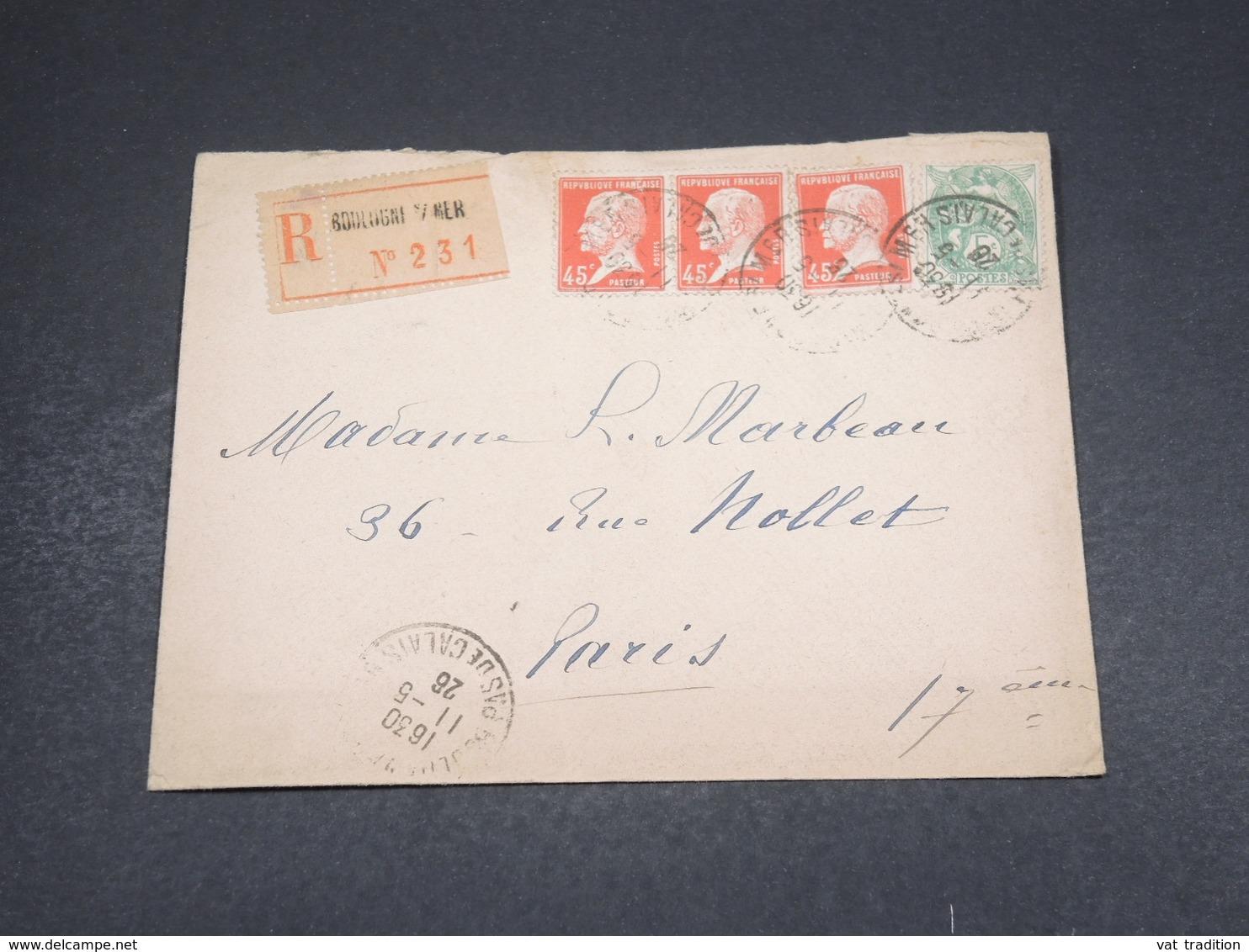 FRANCE - Enveloppe En Recommandé De Boulogne Sur Mer Pour Paris En 1926 , Affranchissement Plaisant - L 18278 - 1921-1960: Période Moderne