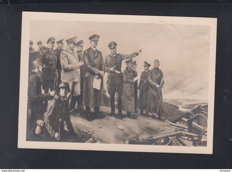 Dt. Reich AK Haus Der Deutschen Kunst Hitler Im Kampfgelände  Von Konrad Hommel 1944 - Historische Figuren