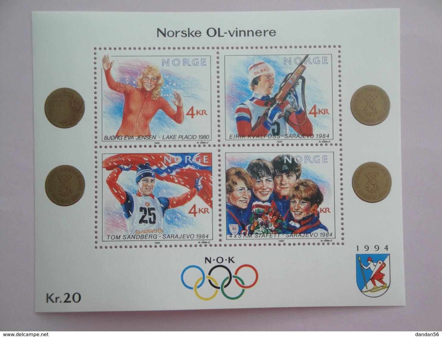 1989 Norvège Yvert  BF11 ** Sport JO Scott 946 Michel B12 SG Ms 1064 - Blocs-feuillets