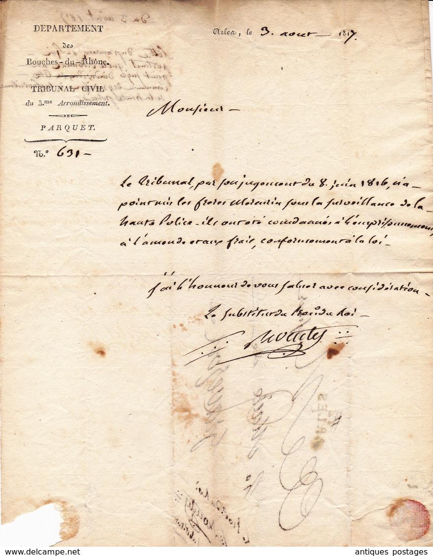 Lettre 1817 ARLES Pour Mairie De GRAVESON Bouches-du-Rhône Tribunal Civil Parquet Procureur Du Roi - Marcofilie (Brieven)