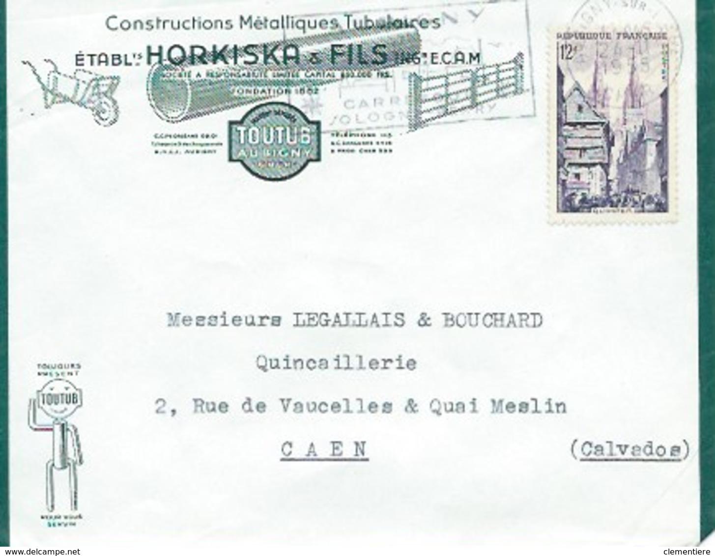 TP N° 979 Seul Sur Enveloppe D'Aubigny Sur Cher Des Ets Hors-kiska & Fils Pour Caen - Marcophilie (Lettres)