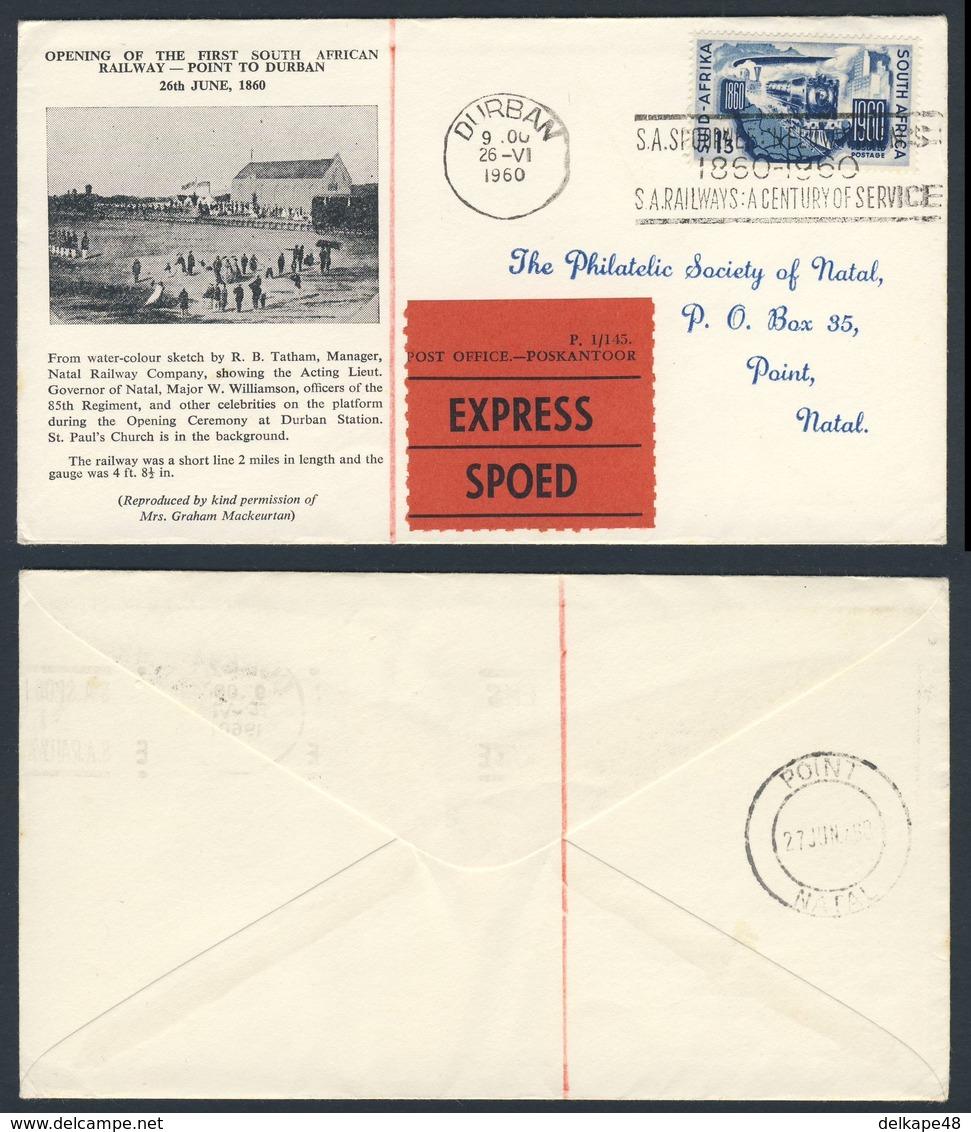 Zuid Afrika South Africa 1960 Cover / Brief / Enveloppe + Mi 272 -opening 1st South African Railway - Point To Duban - Treinen