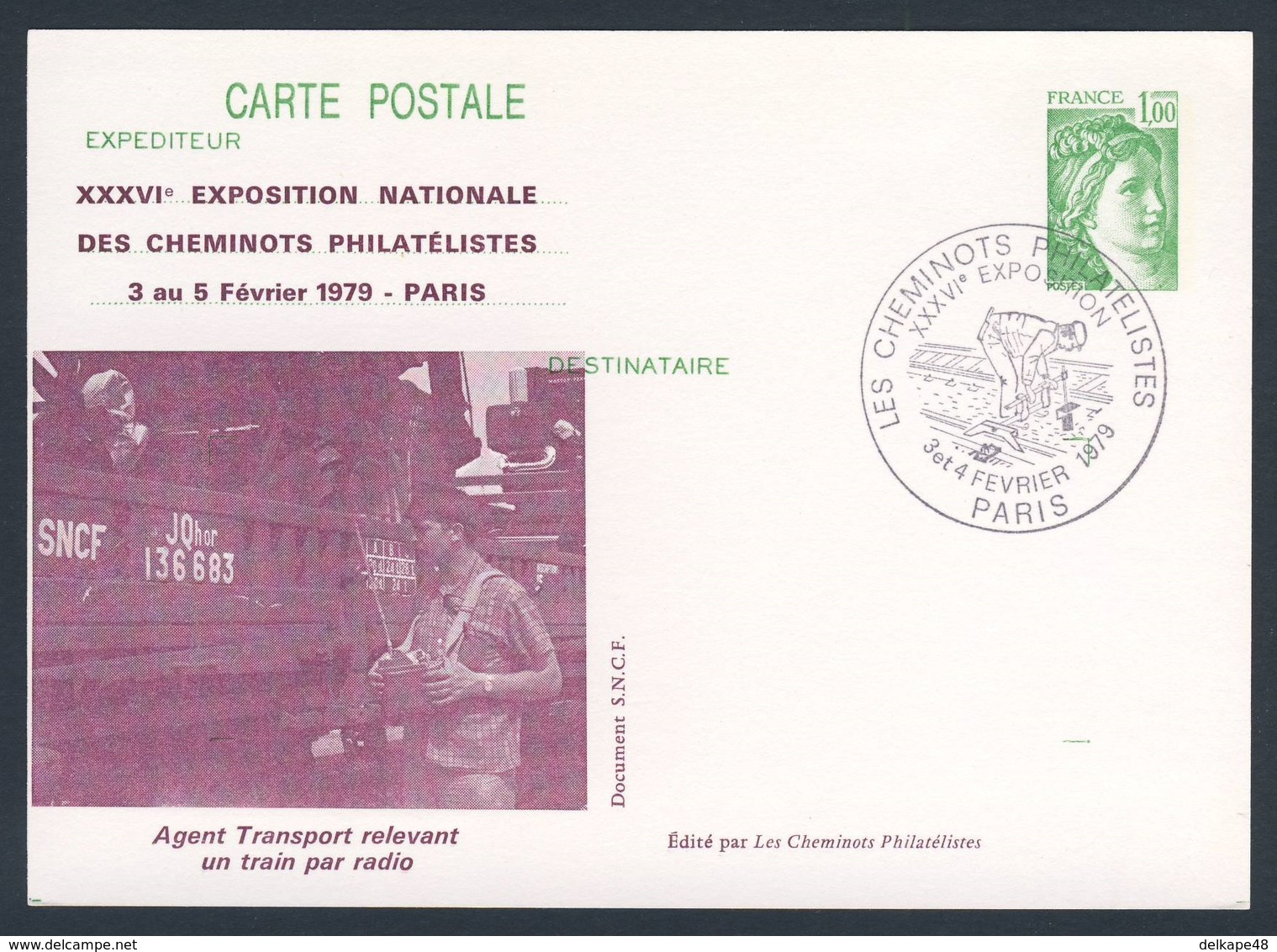 France Rep. Française 1979 Card / Karte / Carte Postale  - Transport Agent Reporting A Train By Radio / Transportagent - Treinen