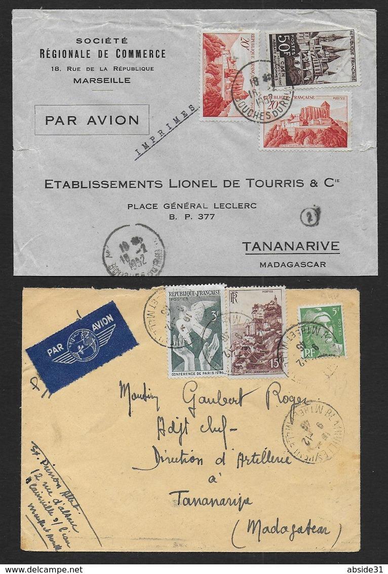 Lot De 6 Lettres Par Avion Pour Madagascar - Marcophilie (Lettres)
