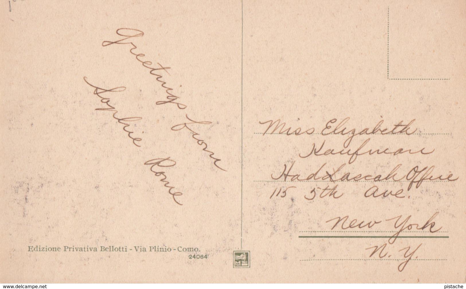 Old 1925-1930 Postcard - Italia Italy - Como Piazza Cavour - Ristorante Barchetta - Animated - VG Condition - 2 Scans - Como