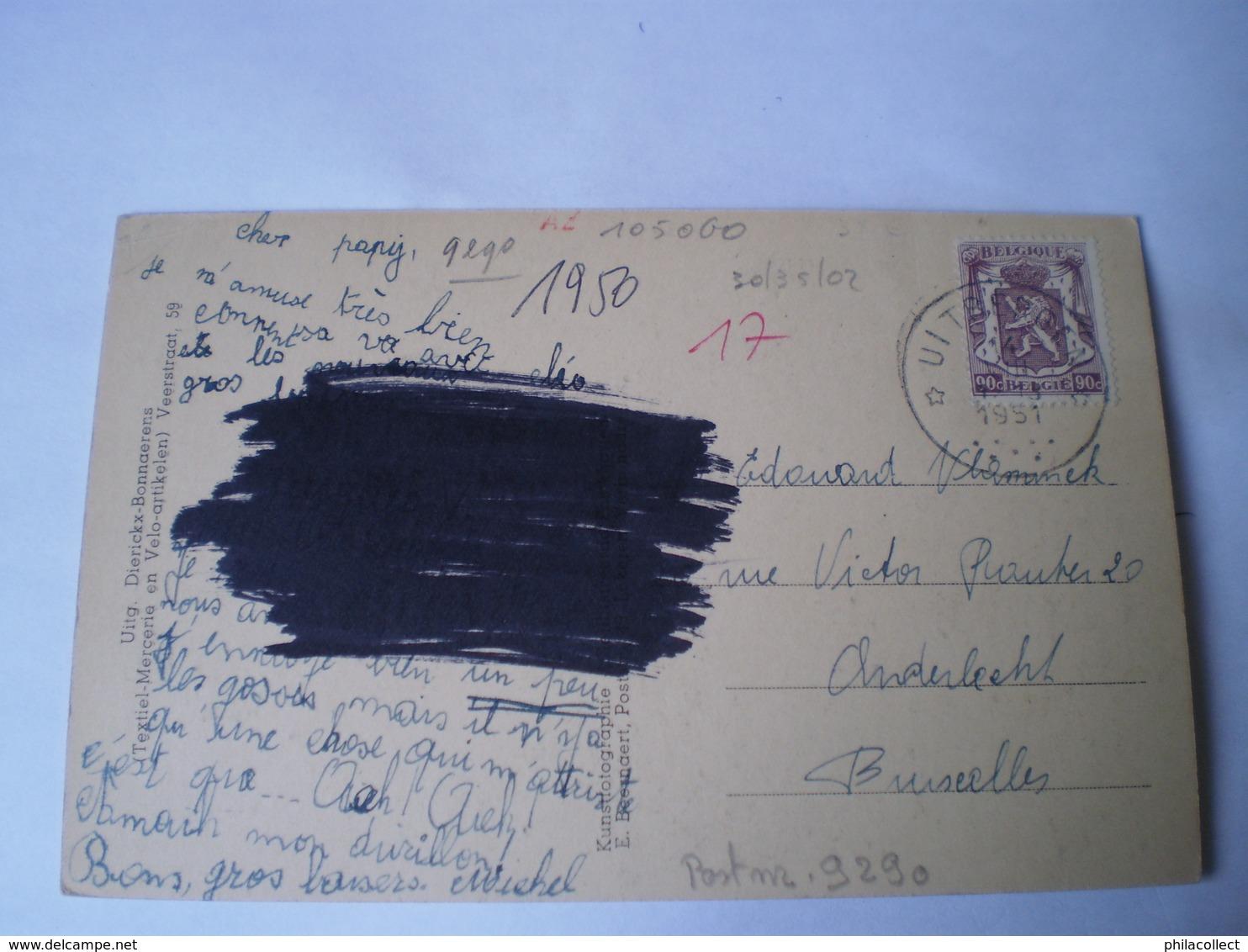 Uitbergen (Uytbergen)(Berlare) : Schelde En Brugzicht Gelopen 1951 Kaart Ouder! / Zeldzaam - Berlare