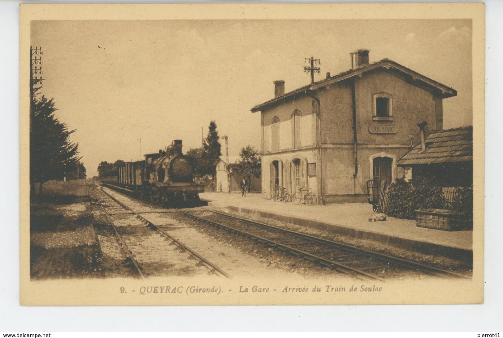 QUEYRAC - La Gare - Arrivée Du Train De Soulac - Autres Communes