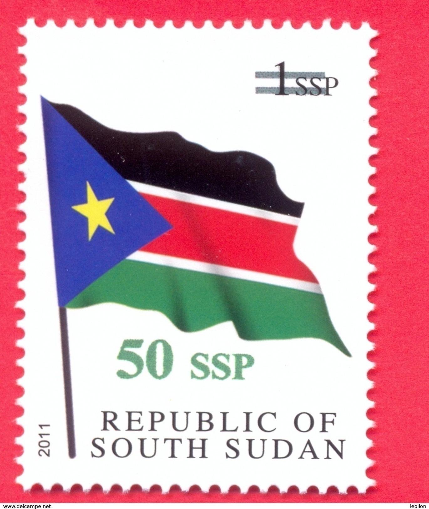 SOUTH SUDAN Surcharged Overprint 50 SSP On 1 SSP National Flag Stamp Of The 1st Set SOUDAN Du Sud Südsudan - Zuid-Soedan
