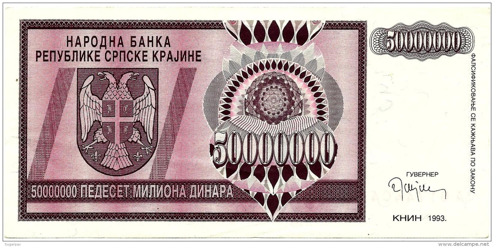 CROATIA ( KRAJINA - KNIN ) 50 000 000 Dinara - 1993 - R 14 - Used - Serbian Republic - Croatie Kroatien - 50000000 - Croatie