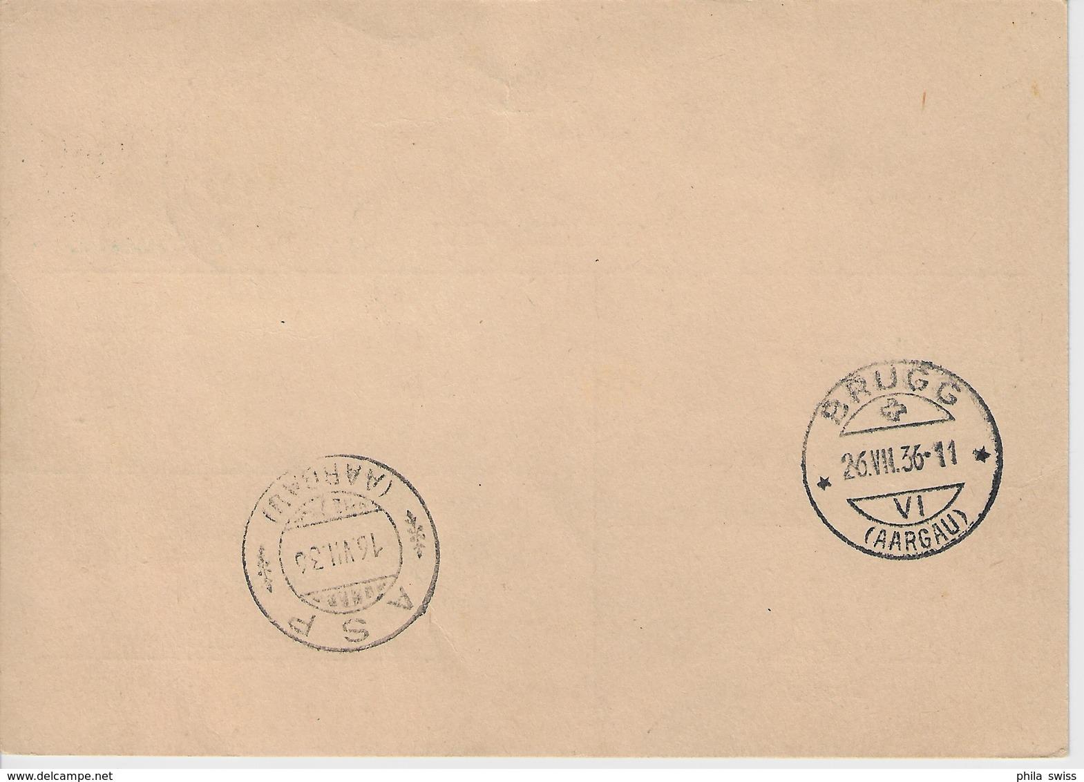 1936 Nachnahme 195/270 4er Block Brugg 14.VII.36 To Asp Aargau - Nicht Eingelöst Impaye Non Pagato - Suisse