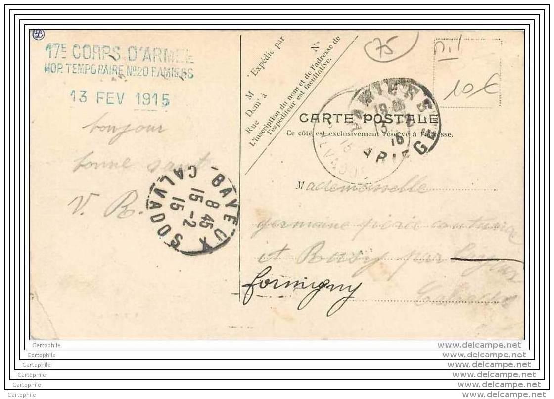 75 - PARIS - Marche De L'Armee - Sortie De Paris - Cachet Hopital Temporaire N20 A Pamiers - 17e Corps D'armee - Guerre 1914-18