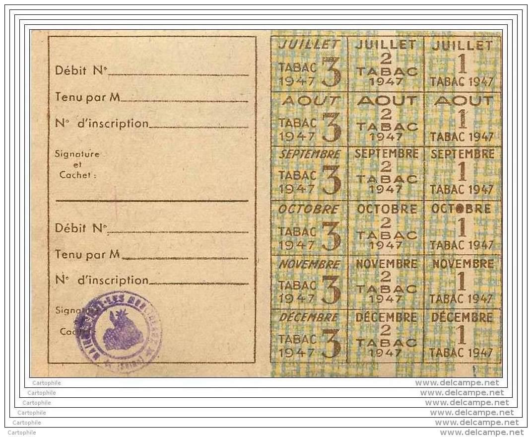 Carte De Tabac 1947 Neuve - Vieux Papiers
