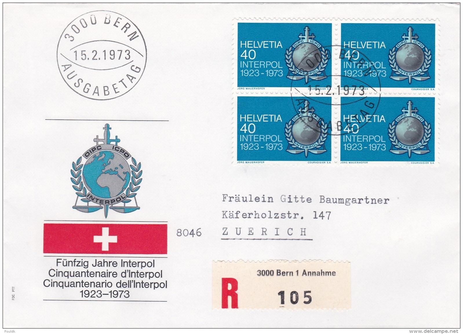 Switzerland FDC 1973 INTERPOL - Block Of Four (DD19-43) - Police - Gendarmerie