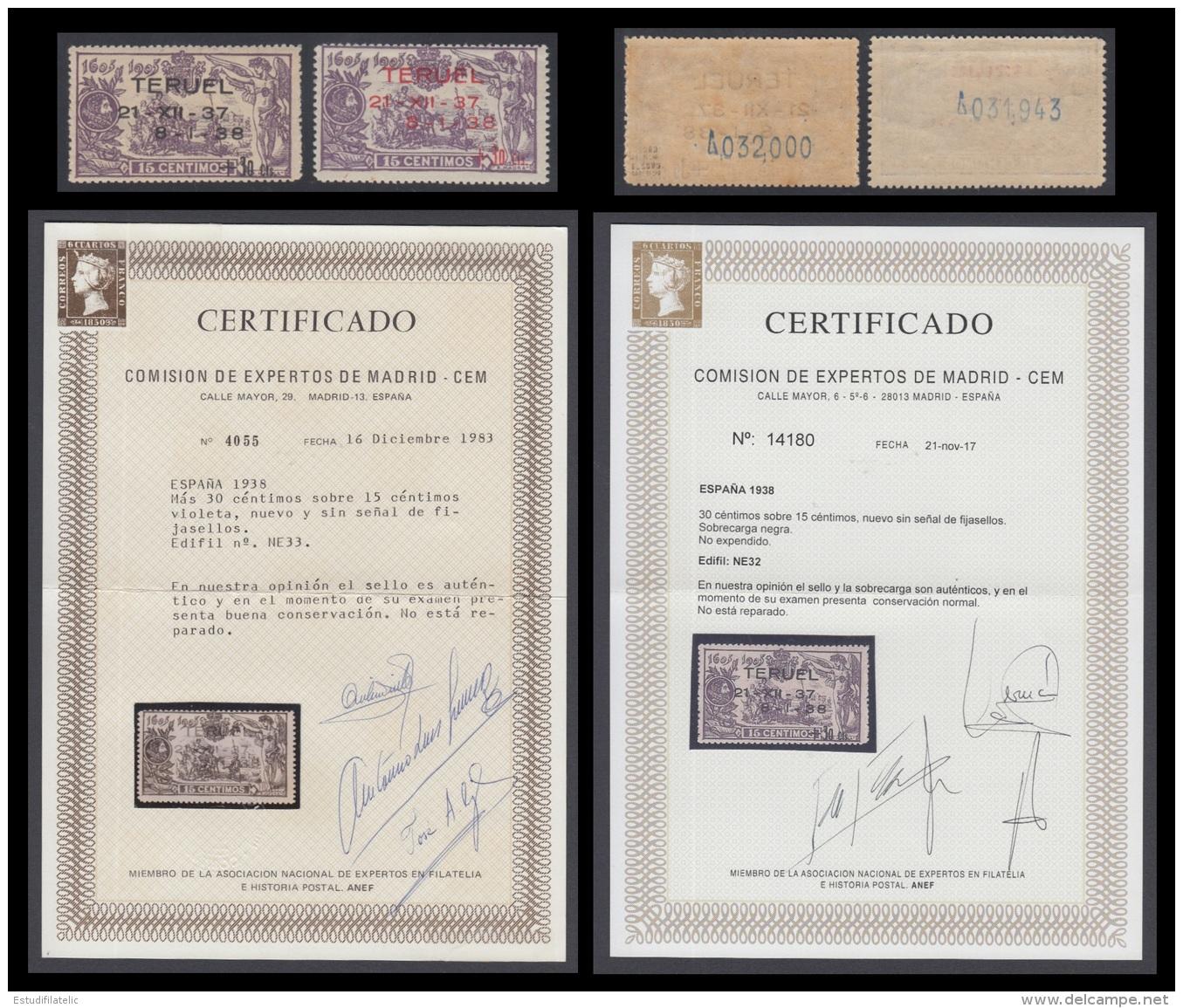 España Spain NE 32/33 1938 No Emitido Toma De Teruel Cert CEM 50 Series Emitidas - España