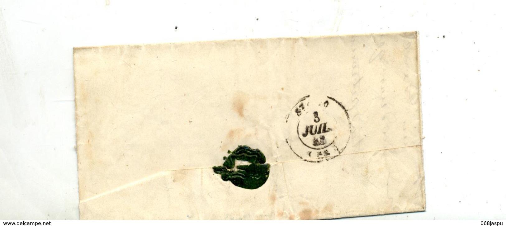 Lettre  Cachet , 6 Decimes + Saint Lo - Marcophilie (Lettres)