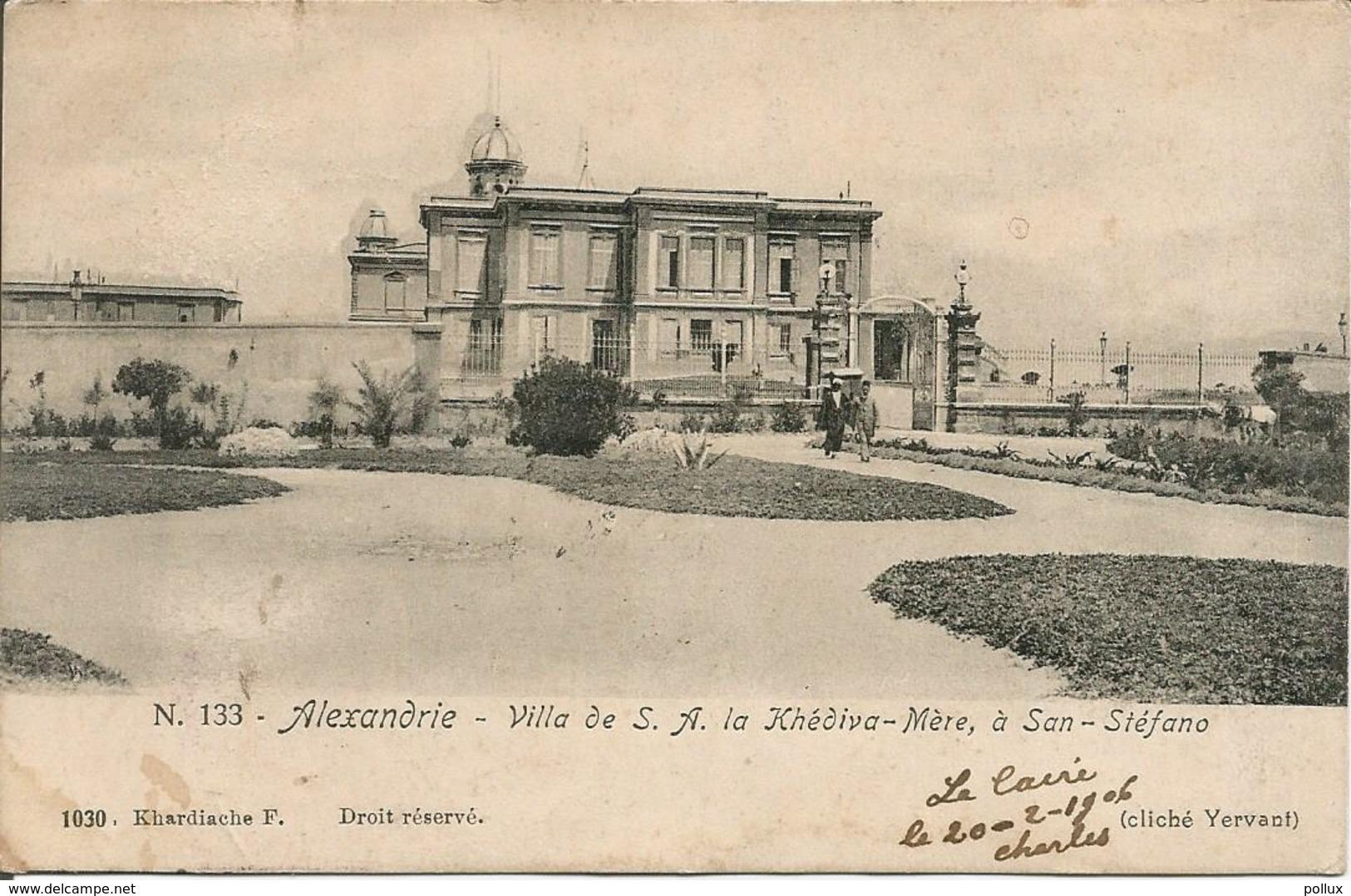 Cpa  Egypte ALEXANDRIE Ville De S.A.La Khédiva-Mère à San Stéfano 1906 - Alexandrië